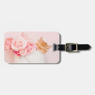 Sleeping Kitten Pink Roses Luggage Tag
