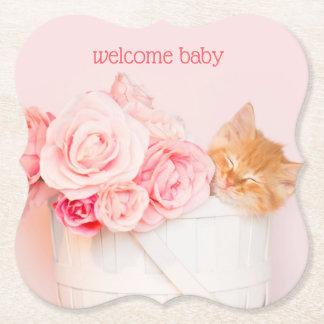 Sleeping Kitten Pink Roses Paper Coaster