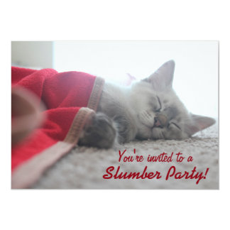 Sleeping Kitten Slumber Party Invitation