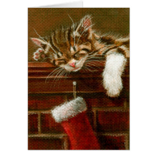 Sleeping Kitten with Christmas Stocking Card
