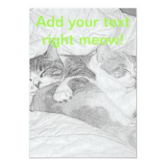 Sleeping Kittens Grey 13 Cm X 18 Cm Invitation Card