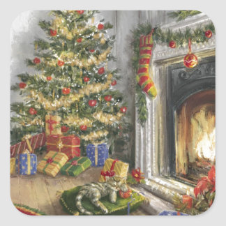 Sleeping Kitty By The christmas Tree Square Sticker
