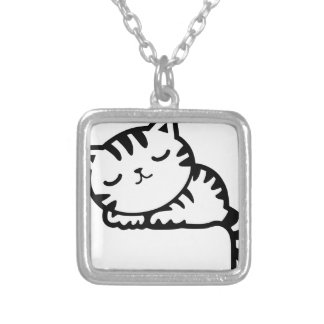 Sleeping Kitty Drawing Silver Plated Necklace