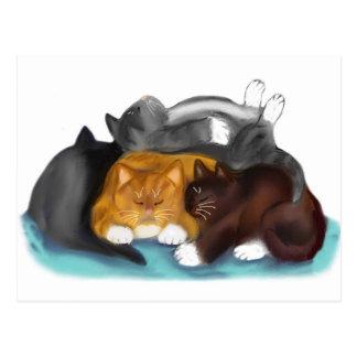Sleeping Kitty Pile Postcard