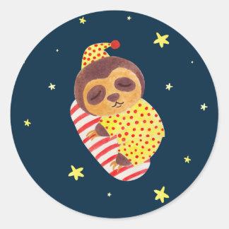 Sleeping Like a Sloth Round Stickers