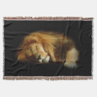 Sleeping Lion Woven Throw Blanket