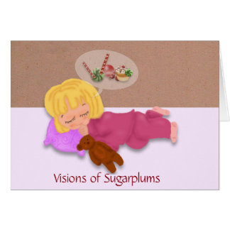 Sleeping Little Girl Dreaming of Sugarplums Card