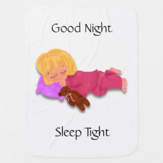 Sleeping Little Girl with Teddy Bear Baby Blanket