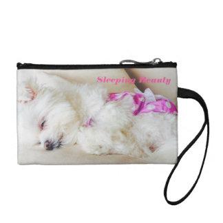 Sleeping Maltese puppy coin purse