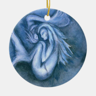 Sleeping Mermaid and Baby Daughter Round Ornament