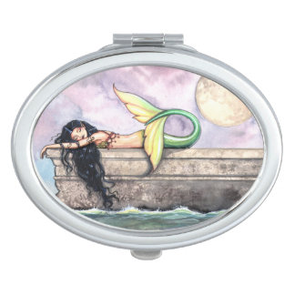 Sleeping Mermaid Watercolor Fantasy Art Vanity Mirrors