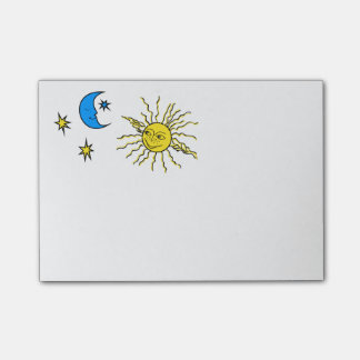 Sleeping moon and smiling sun post-it notes