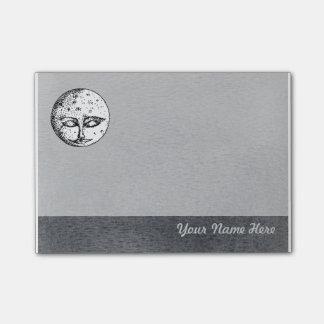 Sleeping Moon Face on Grey Post it Note