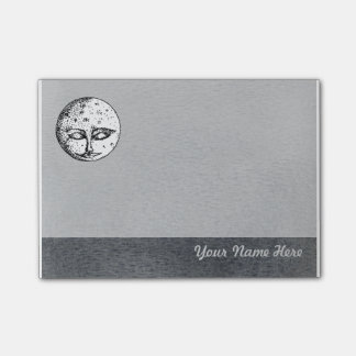 Sleeping Moon Face on Grey Post it Note Post-it® Notes