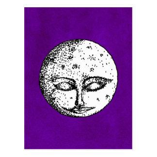 Sleeping Moon on Intense Purple Postcard