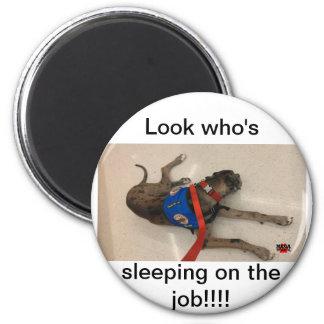 Sleeping on the job 6 cm round magnet