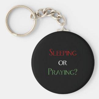 Sleeping or praying - islamic muslim prayer print key ring
