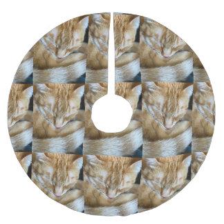 Sleeping orange tabby cat brushed polyester tree skirt