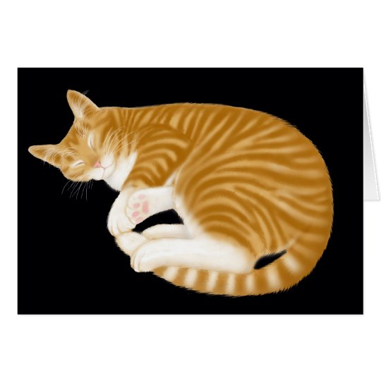 Sleeping Orange Tabby Cat Card