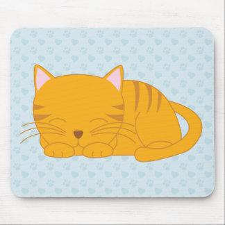 Sleeping Orange Tabby Cat Mouse Pad