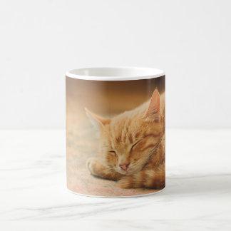 Sleeping Orange Tabby Cat Mugs