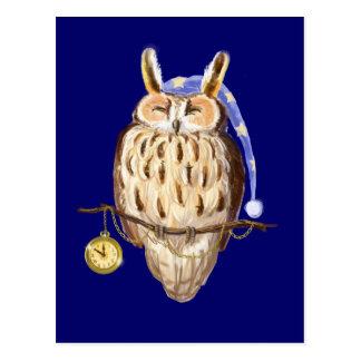 Sleeping owl postcard