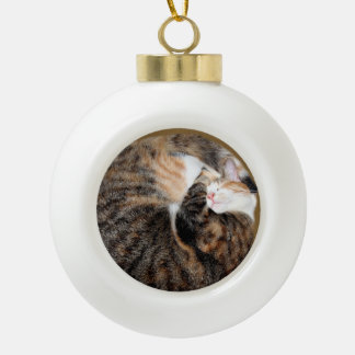 Sleeping patched tabby ceramic ball christmas ornament