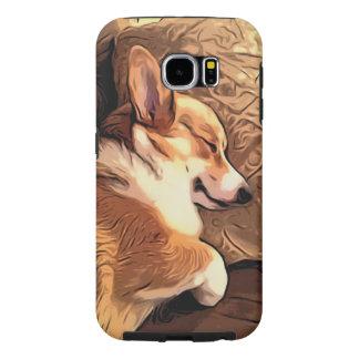 Sleeping Pembroke Welsh Corgi dog Samsung Galaxy S6 Cases