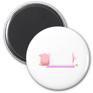 Sleeping Pig Pink Blanket Fridge Magnets
