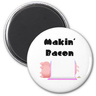 Sleeping Pigs Pink Blue Blanket Makin' Bacon Magnets