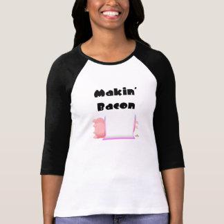 Sleeping Pigs Pink Blue Blanket Makin' Bacon Tshirt