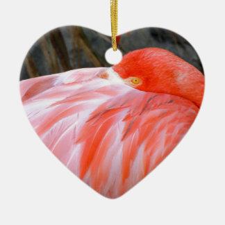 Sleeping Pink Flamingo Ceramic Ornament