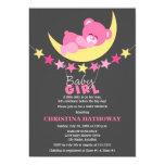Sleeping Pink Girl Teddy Bear on Moon Baby Shower 13 Cm X 18 Cm Invitation Card