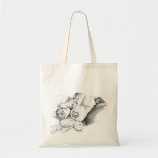 Sleeping Pitbull Sketch Tote Bag