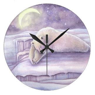 Sleeping Polar Bear Fantasy Wildlife Snuggly Bears Large Clock