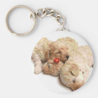 Sleeping Puppies Basic Round Button Key Ring