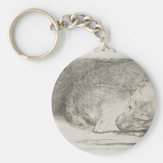 Sleeping puppy by Rembrandt Basic Round Button Key Ring