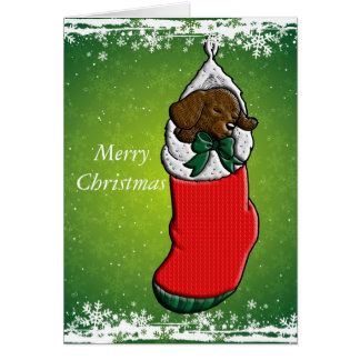 Sleeping Puppy in Christmas Stocking Greeting Card