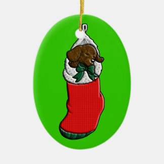 Sleeping Puppy in Christmas Stocking Ceramic Oval Decoration