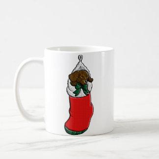 Sleeping Puppy in Christmas Stocking Mug