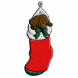Sleeping Puppy in Christmas Stocking Photo Sculpture Badge