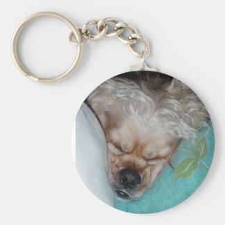 Sleeping Puppy Basic Round Button Key Ring