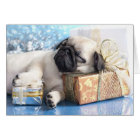 Sleeping  puppy pug and Christmas gifts Card