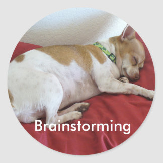 Sleeping Puppy Round Sticker