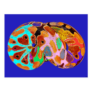 Sleeping Python Pop Art Post Card (Blue)