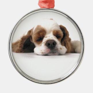 Sleeping Red/White Cocker Spaniel Silver-Colored Round Decoration