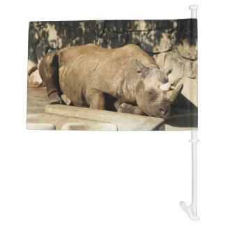 Sleeping Rhino Car Flag