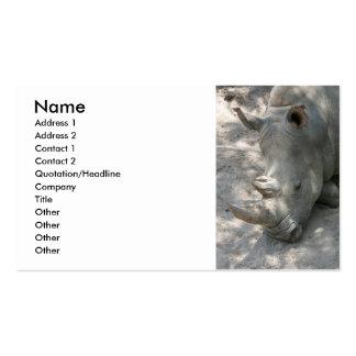 Sleeping Rhino head shot Business Card Templates