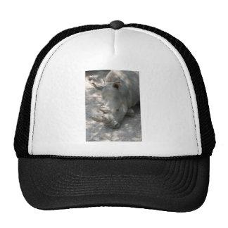 Sleeping Rhino head shot Mesh Hats