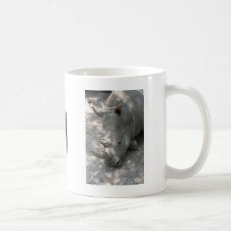 Sleeping Rhino head shot Coffee Mugs